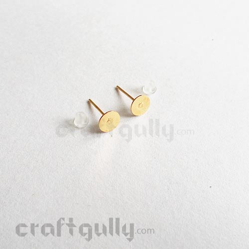 Earring Studs 6mm - Flat With Stoppers - Golden - 5 Pairs
