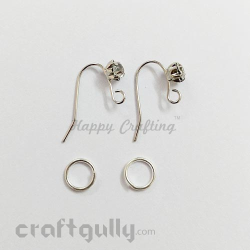 Earring - Hooks with Rhinestone - Silver Finish - 1 Pair