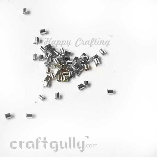 Crimp Ends 2mm - Tube - Silver Finish - 5gms