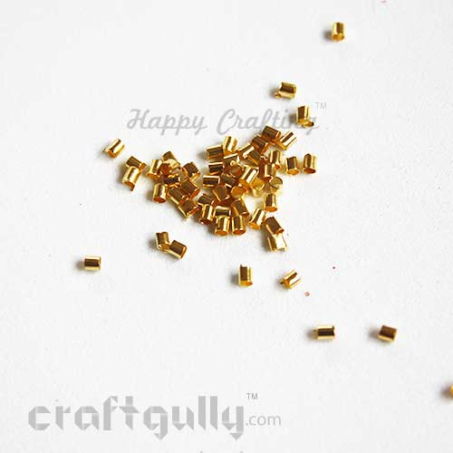 Crimp Ends 2mm - Tube - Golden Finish - 5gms