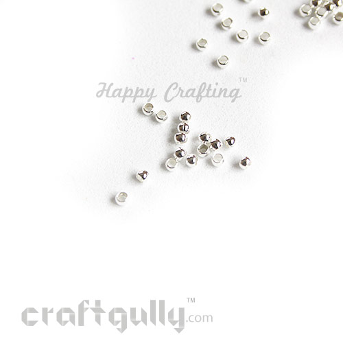 Crimp Beads 2mm - Round - Silver Finish - 5gms