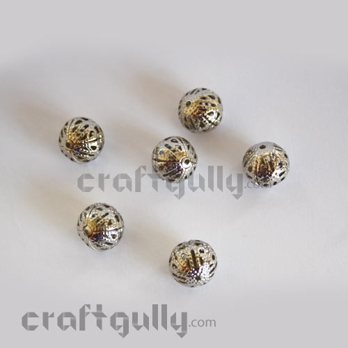 Metal Beads 10mm - Round - Silver Finish - Pack of 20
