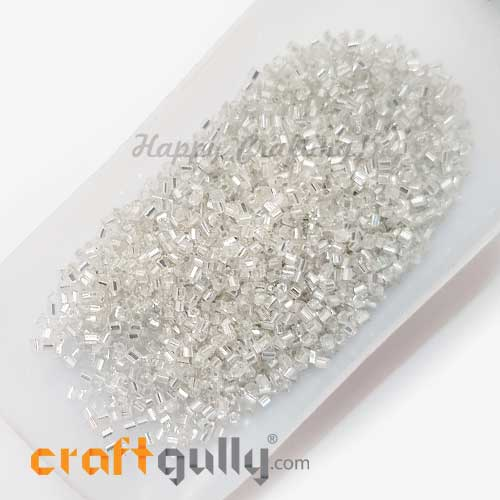 Seed Beads 2mm Glass - Hexagonal - Metal Lined White - 25gms