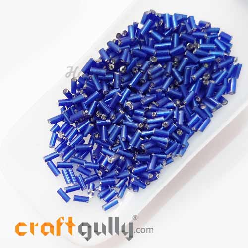 Seed Beads 5mm - Glass - Bugle - Metal Lined Royal Blue - 25gms
