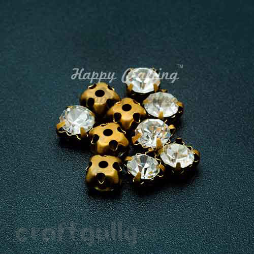 Rhinestone 5mm - Prong Setting - White - Pack of 25