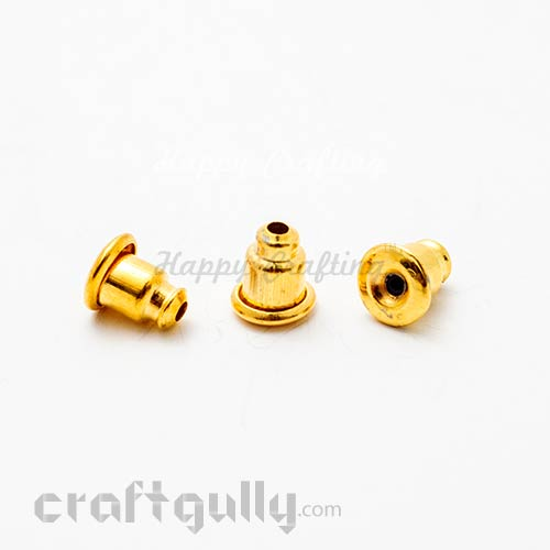 Earring Backs - Barrel - Golden - Pack of 24