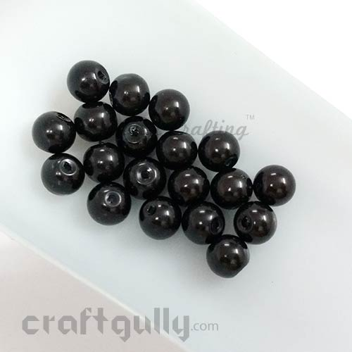 Glass Beads 7mm - Round - Black - Pack of 20