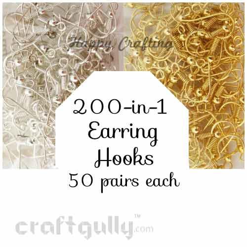 Festive Pack - Earring Hooks - Golden & Silver - 50 Pairs each