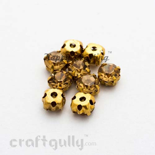 Rhinestone 5mm - Prong Setting - Golden - Pack of 25