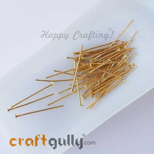 Head Pins - Flat 26mm - Golden Finish - Pack of 50