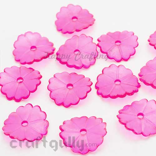 Acrylic Beads 15mm - Wafer - Pink Transparent - Pack of 25