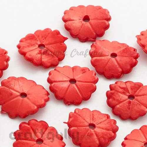Acrylic Beads 15mm - Wafer - Red - Pack of 25