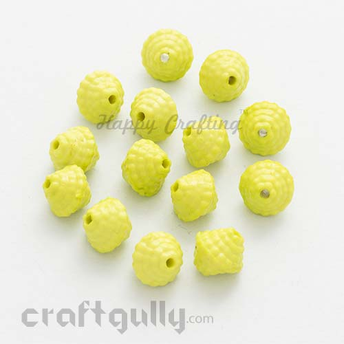 Acrylic Beads 11mm - Top - Lime Green - Pack of 25