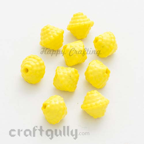 Acrylic Beads 11mm - Top - Sunflower Yellow - Pack of 25