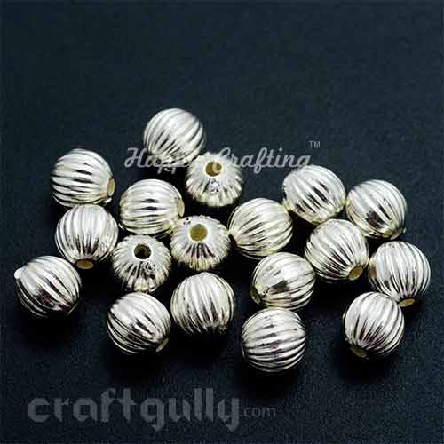 Acrylic Beads 6mm - Pumpkin - Silver Finish - Pack of 20