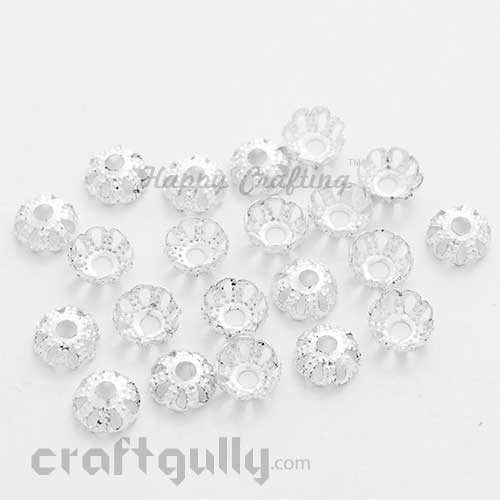 Bead Caps 6mm - Flower #4 Rounded - Silver - Pack of 50
