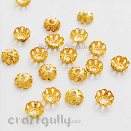 Bead Caps 6mm - Flower #4 Rounded - Golden - Pack of 50