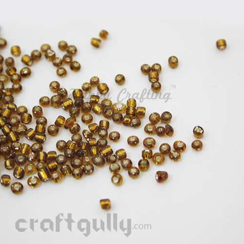 Seed Beads 2mm - Glass - Round - Metal Lined Brown - 25gms