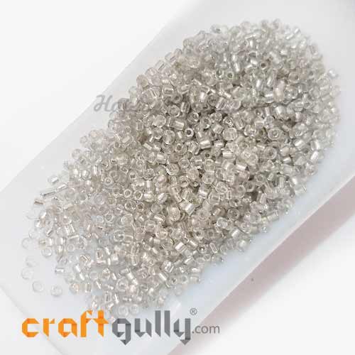 Seed Beads 2mm Glass - Round - Metal Lined Clear - 25gms