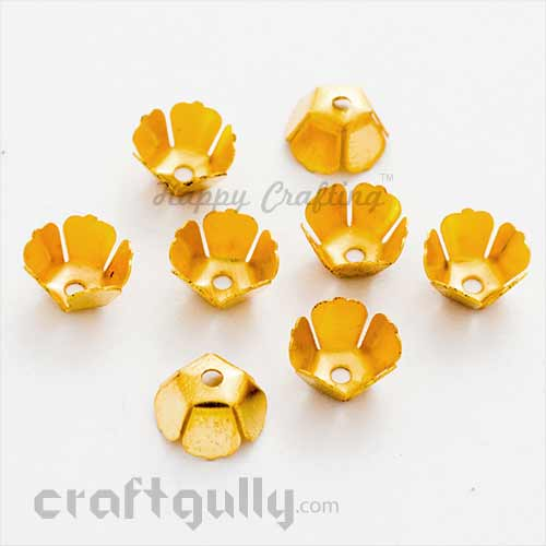 Bead Caps 8mm - Flower #3 Geometric - Golden - Pack of 15