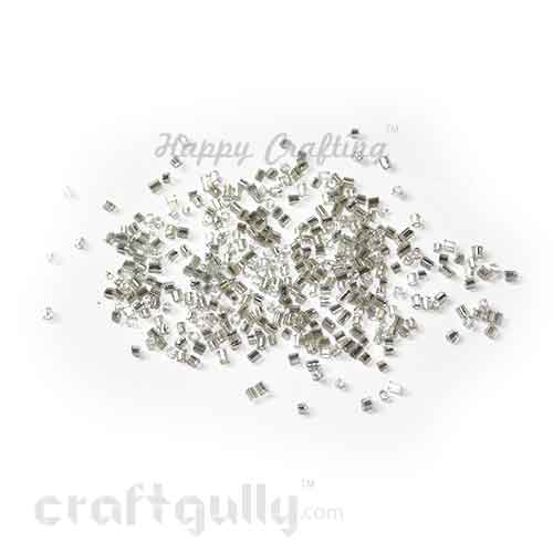 Seed Beads 2mm - Glass - Hexagonal - Metal Lined Silver - 25 gms