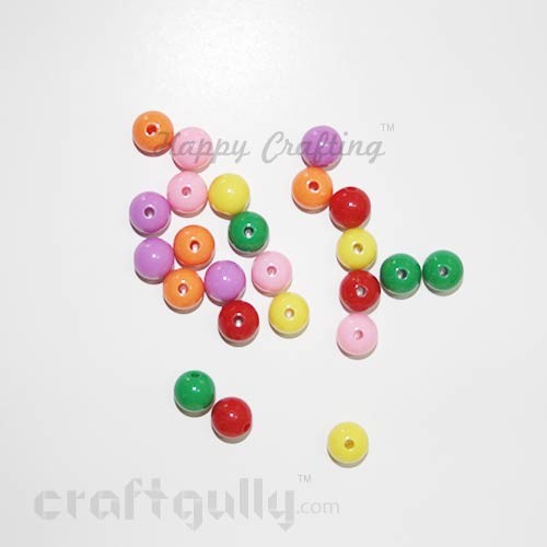 Acrylic Beads 8mm - Round - Assorted - Pack of 60