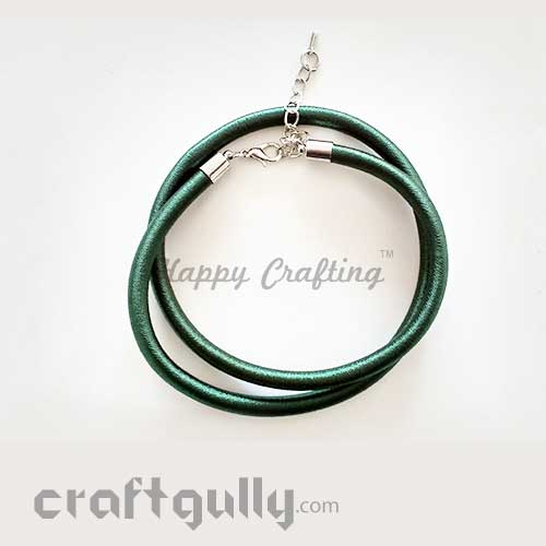 Necklace Cords - Silk Thread - Dark Green - 18 inches