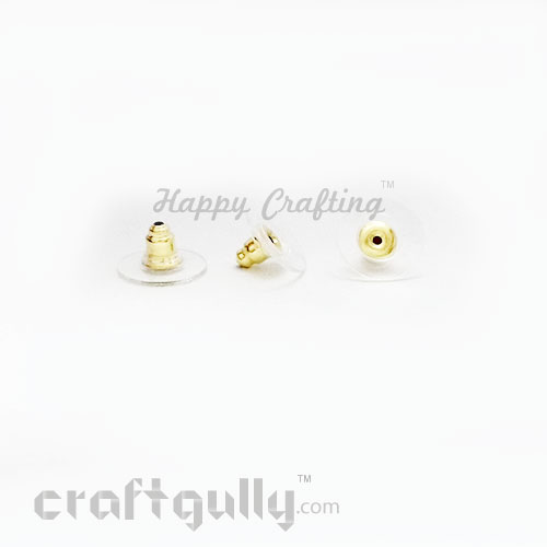Earring Backs - Clear And Barrel - Golden - Pack of 20