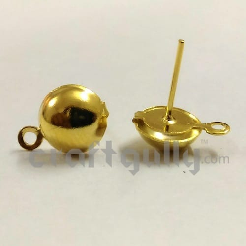 Earring Studs 9mm - Round With Flat Base - Golden Finish - 3 Pairs