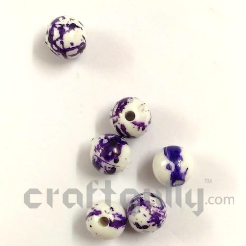 Acrylic Beads 8mm - Round Mottled White & Purple - Pack of 30