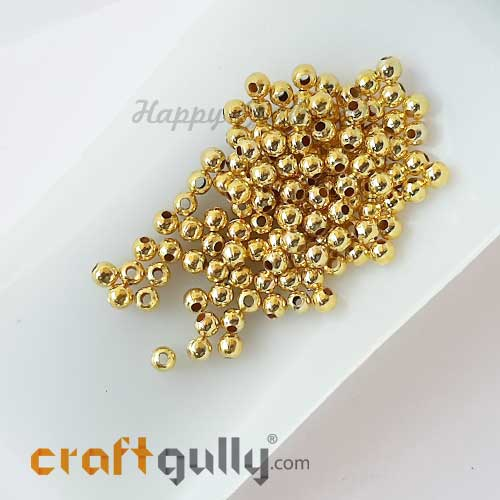 Seed Beads 4mm - Metal - Golden Finish - 100 Beads