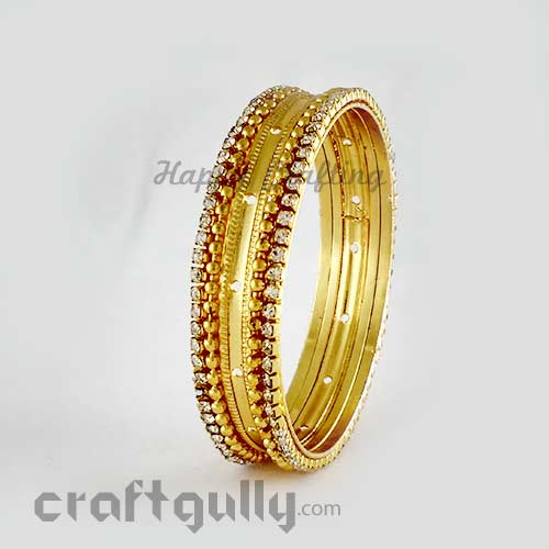 Bangles Metal 2.2 - 14mm - Golden With Rhinestones - Pack of 1