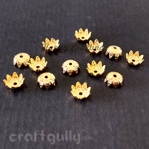 Bead Caps 7mm - Flower #5 - Golden - Pack of 50
