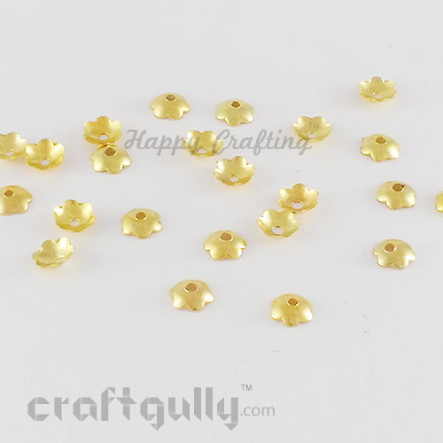 Bead Caps 6mm - Flower #7 - Golden Finish - Pack of 50