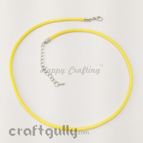 Necklace Cords 3mm - Faux Leather - Snake Braid - Sunflower Yellow