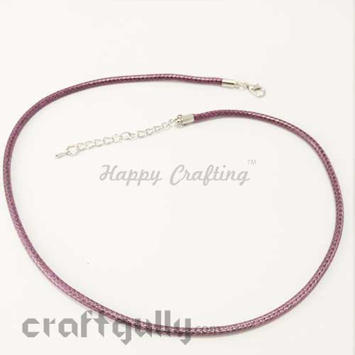 Necklace Cords 3mm - Faux Leather - Snake Braid - Mauve