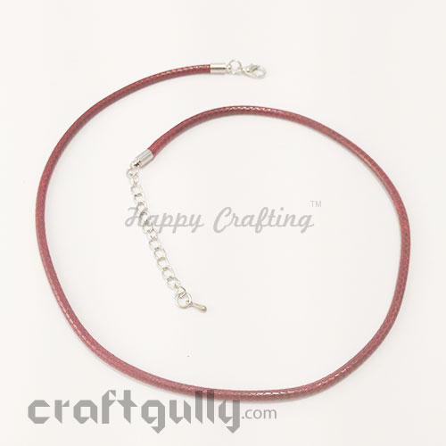 Necklace Cords 3mm - Faux Leather - Snake Braid - Dark Red