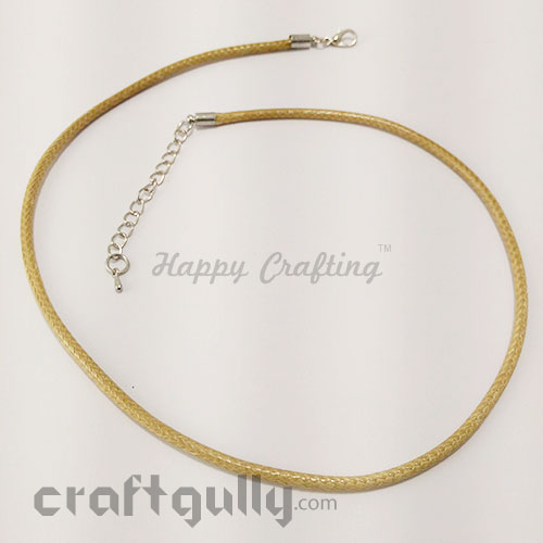 Necklace Cords 3mm - Faux Leather - Snake Braid - Beige