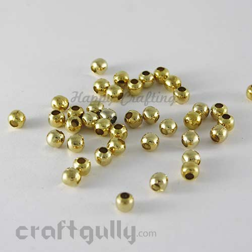 Metal Beads 5mm - Round Smooth - Golden Finish - Pack of 20