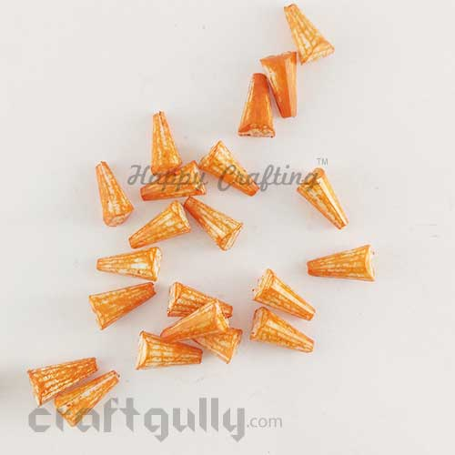 Acrylic Beads 11mm - Cone Lined - Mottled Orange -  Pack of 40