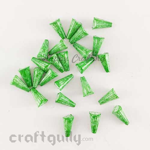 Acrylic Beads 11mm - Cone Lined - Mottled Emerald Green -  Pack of 40