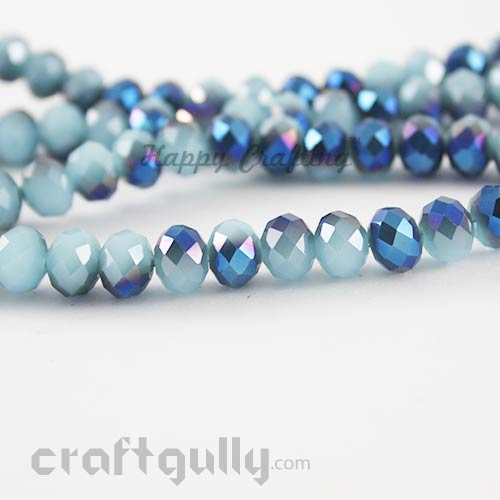 Glass Beads 8mm - Round Faceted - Dual Blue - Pack of 10