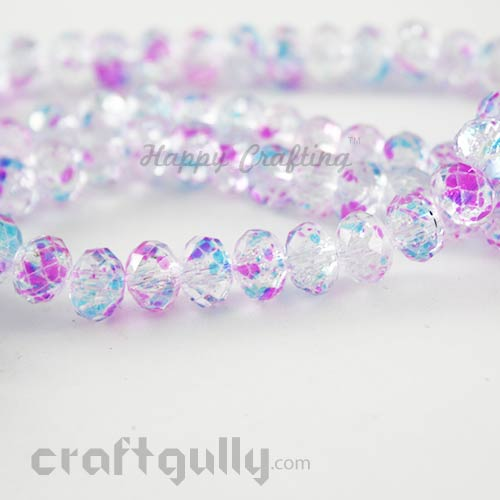 Glass Beads 8mm - Round Faceted Crackle - Clear, Pink & Blue - Pack of 10