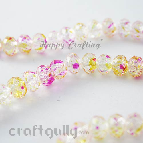 Glass Beads 8mm - Round Faceted Crackle - Clear, Pink & Yellow - Pack of 10
