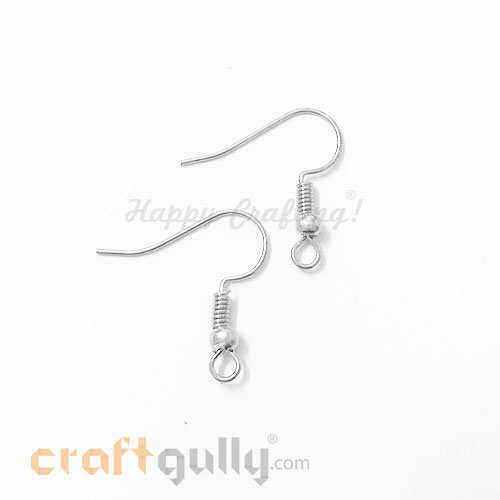 Earring Hooks - Silver Finish - 6 Pairs