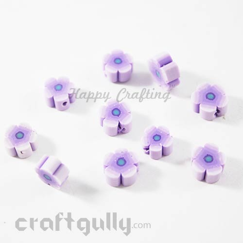 Polymer Clay Beads 8mm - Flower - Purple - Pack of 10
