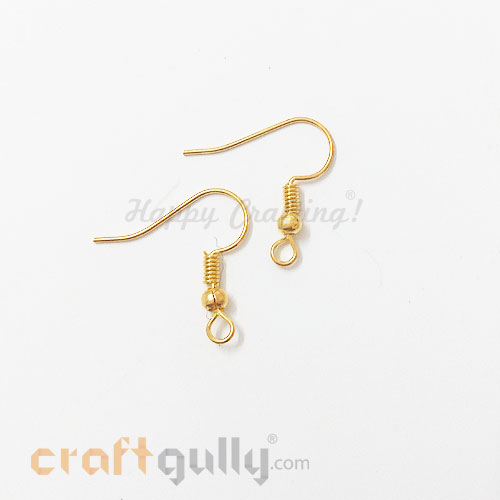 Earring Hooks - Golden Finish - 6 Pairs