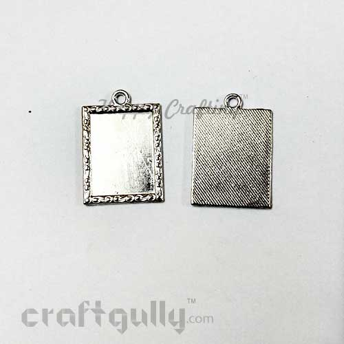 Pendant Blank #24 - 19mm - Rectangle - Silver - Pack of 3