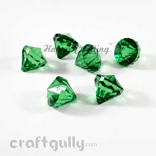 Acrylic Beads 15mm - Diamond Faceted - Green Trans. - Pack of 6
