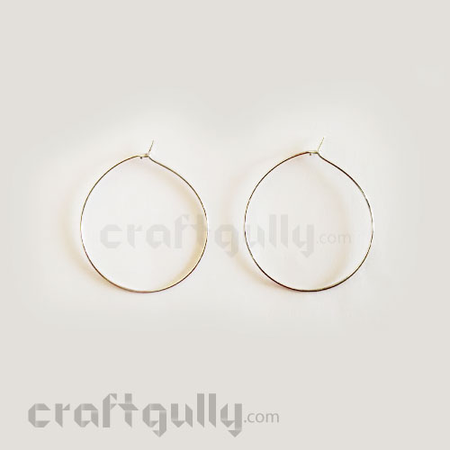 Earring Hoops - 40mm - Silver Oxidised Finish - 2 Pairs